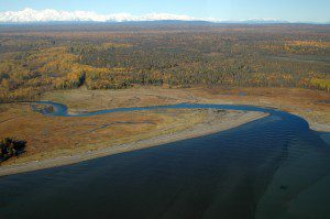 The Chuitna River, threatened by proposed coal strip mining, lies about 45 miles west of Anchorage across Cook Inlet.