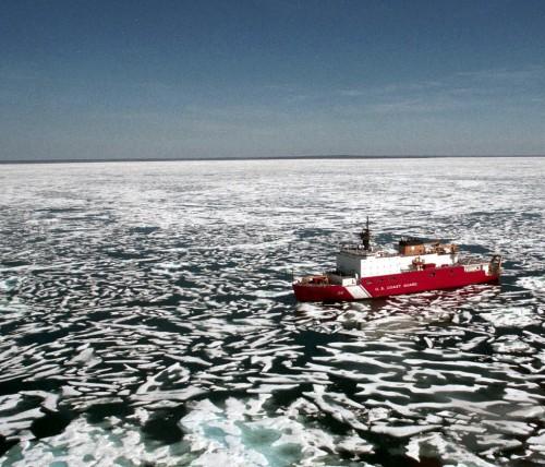 The USCG HEALY is a polar-capable icebreaker, one of three US Coast Guard vessels. USCG Photo.
