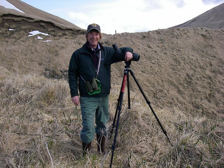 Jim Stratton on a birding trip to Adak.