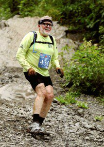 Tom Meacham on his descent of Mount Marathon last July.