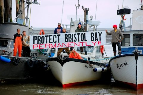 Boat with sign that says Protect Bristol Bay permanently