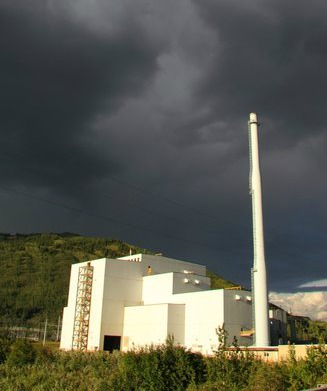"""Stormy clouds over the Healy """"Clean Coal"""" Plant seem to be predicting its future. Photo courtesy of Bretwood Higman, Erin McKittrick, Ground Truth Trekking"""