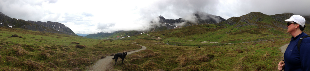 Vicki Clark at Hatcher Pass with her dog Loki.