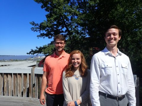 2016 summer interns Christian Tucker, Jaclyn Brass and Esack Gruestein.