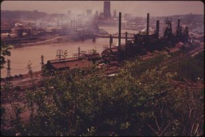 Steel mills pushing out pollution.