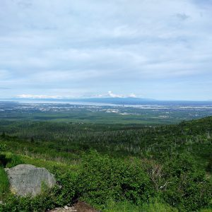 A view of Anchorage from the Wolverine Peak trail. Kat rode her bike and then hiked from the greenbelt to mountain top while in Alaska.