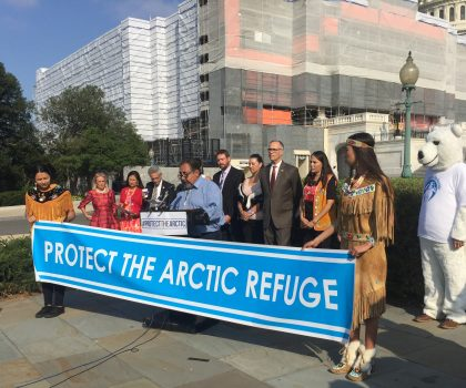 U.S. House leaders join the Gwich'in delegation at press conference before the historic House vote to protect the Arctic Refuge.