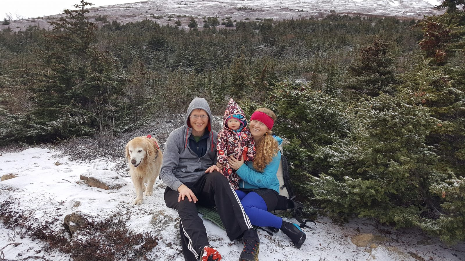 Katie's family out in the snow.