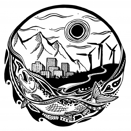 An image from the Just Transition Summit. Salmon, water and a cityscape