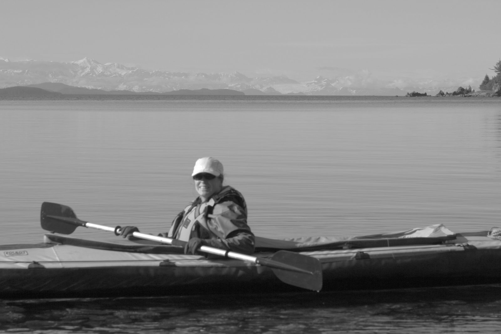 Valerie in a kayak in Prince William Sound, 2012.