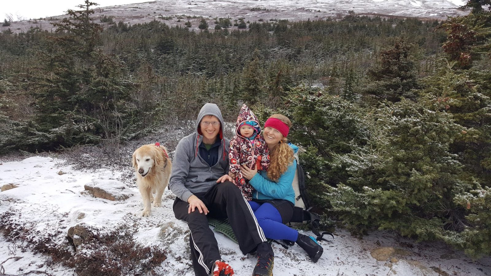 Katie and her family in the mountains in November 2019, nearly ten years after she started with Trustees.